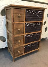 Brown Wood Chest of Drawers Bedroom Storage Unit Cabinet Wicker Furniture Basket