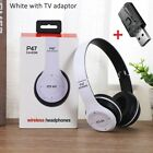 Wireless Bluetooth Headset Headphones Foldable Stereo Earphones With TV Adapter