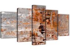 5 Pezzi Arancione Bruciato Grigio Pittura Astratta Tela Camera da letto Decor - 5415 - 160 cm