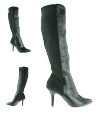 LADIES WOMENS NEW KNEE HIGH STILETTO HEEL PULL ON LYCRA STRETCH BOOTS SHOES SIZE