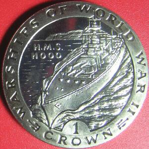 1993 GIBRALTAR 1 CROWN PROOF-LKE HMS HOOD BRITISH ROYAL NAVY SHIP (no silver)