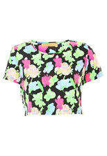 Womens Ladies New Short Cropped Black Neon Floral Printed Top/Blouse UK 8-16