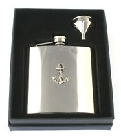 Ships Anchor 6oz Hip Flask Personalised Sailors Gift Boxed FREE ENGRAVING 325