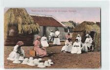 CURACAO WOMEN HAT WEAVERS IN A CAMP UNUSED UPU PPC