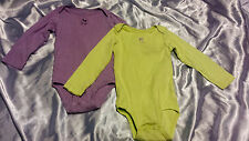 "2 CARTER'S Lime Green ""happy"" & Purple ""laugh"" One-Pieces - Size 24 Months GIRLS"