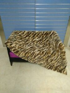 Natural Orillag Rex Rabbt Fur Throw 100% Real Rex Rabbit Fur Bedspread / Blanket