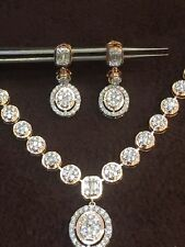 4.80 Cts Round Brilliant Cut Diamonds Necklace Earrings Set In Hallmark 14K Gold