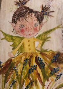 Original Acrylic Colours Painting on Reclaimed Wood - Fairy