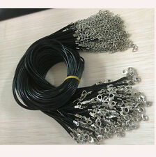 Wholesale 1.5mm Bulk Lot 10pcs black PU Leather String 20 inch Necklace Cord