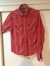 Hollister Men's Red Check Button Front Shirt Size S Good Condition
