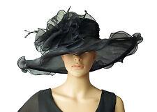 elegante Cappello da donna in nero organza sposa DI MATRIMONIO F5