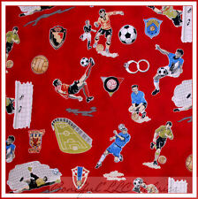 BonEful Fabric FQ Cotton Quilt Red Black B&W SOCCER Ball Game Boy School Sport L