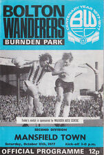 Football Programme>BOLTON WANDERERS v MANSFIELD TOWN Oct 1977