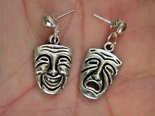 Theatre Mask Earrings Stud Post Silver Drama Comedy Sad Broadway Actor Faces NEW