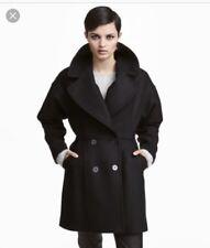H&M Nero Cappotto Invernale Doppio Petto in Un Misto Lana Eur40