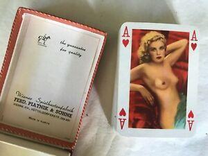 Rare Vintage 1950s Piatnik Nr 1001 Nude Playing Cards Pin Up Glamour Girls