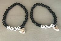 Armband Perlenarmband mit Wunschnamen Personalisiert *Herz* Silber Schwarz