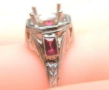 Antique Art Deco Vintage Setting Mounting Belais 18K Platinum Hold 6.5-7MM Ring