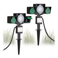 2x Gartensteckdose mit Zeitschaltuhr Außensteckdose 2-fach Erdspieß 2 Buchsen
