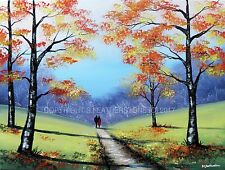 Sarah Featherstone Original Fine Art Signé Toile Peinture, notre automne Promenade