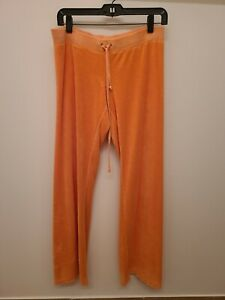 Juicy Couture Orange Sweatpants Size M Terry Cloth Made in USA