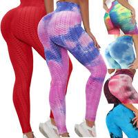 Women High Waist Yoga Pants Anti Cellulite Butt Lift Leggings Workout Trousers E