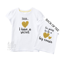 Front And Back Design I/'m Going To Be A Big Cousin T-Shirt for Girls Big Cuz I/'ve Got A Secret Big Cousin Shirt Pregnancy Announcement