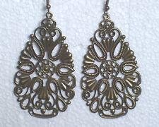 Antique bronze filigree teardrop long earrings