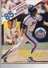 1985 New York Mets Official Scorebook vs Chicago Cubs Darryl Strawberry Cover