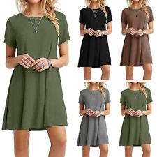 Women's Summer Short Sleeve Blouse Loose Fit T-shirt Party Mini Dress Beach Boho