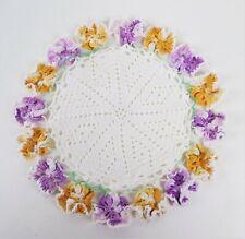 Vintage Hand Crocheted Doily White Gold Purple Pansies Irish Crochet 7 Inches