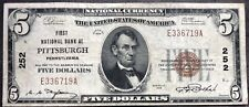 USA 5 Dollar 1929 National Currency $5 Pittsburgh Selten Banknote #9602