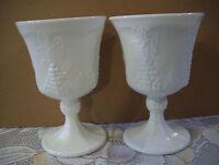 Indiana Colony Harvest Grape White Milk Glass Set Of 2 Goblets