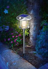 2x LED Solar lámpara de jardín con PIR Detector de movimiento Stand