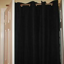 "Grommet Top One Window Panel 54"" X 84"" Black Faux Suede 100% Polyester Curtain"