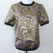 NEW Marni by H&M Jacquard top Floral contrast gold/purple Size 2