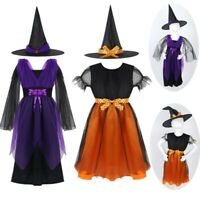 Kids Witch Costume Fancy Dress Clothes Hat Girl Halloween Children Cosplay Party