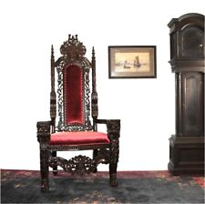 Giant Mahogany Throne Chair King Queen Santa Claus antique Red Velvet