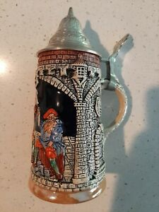 Miniature Beer Stein With Lid, 8 oz. Capacity, Made In Germany, Mint