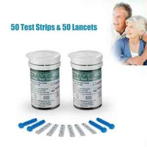 50x Exactive EQ Blood Glucose Test Strip Codefree 50x Lancet Daily Use UK