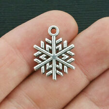 10 Snowflake Charms Antique Silver Tone 2 Sided Buy 4 Get 20% Off!!
