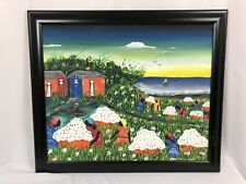 Black Women Picking Cotton Along Coastline Acrylic Painting Framed Colorful BLM