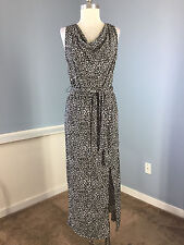 Ellen Tracy Black White Stretch maxi Dress Excellent S Career Cocktail belt wow
