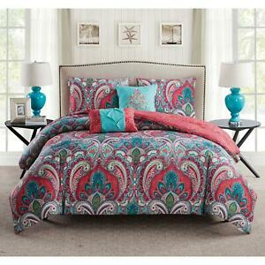 Home Paisley Damask Comforter Set Bedding Full Queen Microfiber Fabric 5 Pcs NEW