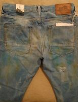 PRPS BARRACUDA Men Indigo Mud Stains Splattered Dirty Relaxed Jeans 36 Orig $395