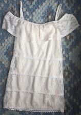 Fredericks of Hollywood Evening Ivory Ruffled Tiered Summer Lace Dress Western M