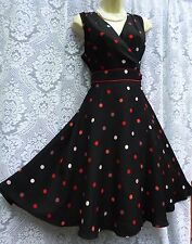 WOW FANTASTIC MONSOON 'JAYNE' SIZE 14 PRINTED SPOT BLACK  WRAP DRESS .