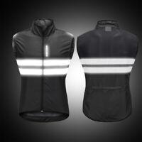 Mens Cycling Vest Bike Sleeveless Gilet Waistcoat Windproof Jersey Reflective