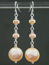 Pale Oyster Pink Champagne Freshwater Coin Pearl & 925 Sterling Silver Earrings
