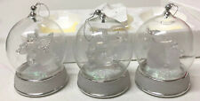 Vintage Lot of 3 Frosted Glass Musical Snow Globe Christmas Ornaments Nib